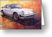 Porsche 911 Greeting Cards - Porsche 911 Carrera Greeting Card by Yuriy  Shevchuk