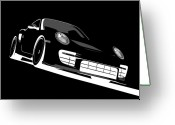 Performance Greeting Cards - Porsche 911 GT2 Night Greeting Card by Michael Tompsett