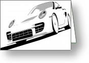 Porsche Greeting Cards - Porsche 911 GT2 White Greeting Card by Michael Tompsett