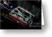 Super Car Greeting Cards - Porsche 911 Racing Greeting Card by Sebastian Musial