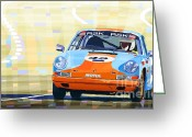 Vintage Mixed Media Greeting Cards - Porsche 911 S  Classic Le Mans 24  Greeting Card by Yuriy  Shevchuk