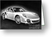 Pencil Greeting Cards - Porsche 911 Turbo    Greeting Card by Peter Piatt