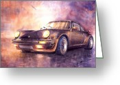 Porsche 911 Greeting Cards - Porsche 911 Turbo 1979 Greeting Card by Yuriy  Shevchuk
