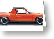 Illustration Greeting Cards - Porsche 914-6 GT Greeting Card by Alain Jamar