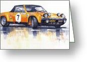 Porsche Greeting Cards - Porsche 914-6 GT Rally Greeting Card by Yuriy  Shevchuk