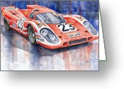 Sport Painting Greeting Cards - Porsche 917K Winning Le Mans 1970 Greeting Card by Yuriy  Shevchuk