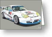 Alms Greeting Cards - Porsche 996 GT3 Cup Greeting Card by Alain Jamar