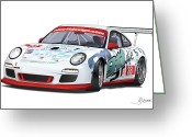 Alms Greeting Cards - porsche 997 GT3 CUP Greeting Card by Alain Jamar