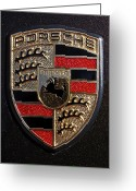 Red Car Greeting Cards - Porsche Emblem Greeting Card by Jill Reger