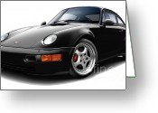 Porsche 911 Greeting Cards - Porsche Flachbau Black Car Greeting Card by Maddmax
