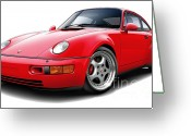 Porsche 911 Greeting Cards - Porsche Flachbau RedCar Greeting Card by Maddmax