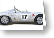 Alms Greeting Cards - Porsche Type RSK Greeting Card by Alain Jamar
