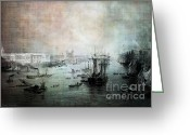 Lianne_schneider Boats Fine Art Print Greeting Cards - Port of London - Circa 1840 Greeting Card by Lianne Schneider