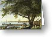 Delaware River Greeting Cards - Port Of Philadelphia, 1800 Greeting Card by Granger