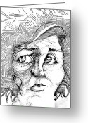 Nose Drawings Greeting Cards - Portait of a Woman Greeting Card by Michelle Calkins