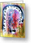 Thought-provoking Mixed Media Greeting Cards - Portal of Beginning Again Greeting Card by Roberto Prusso
