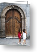 Pena Greeting Cards - Portal of the Iglesia de Nuestra Senora de la Pena de Francia Greeting Card by Fabrizio Troiani