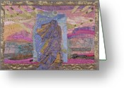 Wall Quilt Tapestries - Textiles Greeting Cards - Portal Greeting Card by Roberta Baker