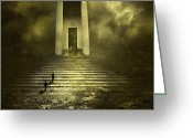 Entrance Door Greeting Cards - Portal Z Greeting Card by Svetlana Sewell