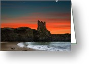 Photography Pyrography Greeting Cards - Portbury Castle Greeting Card by Ian David Soar