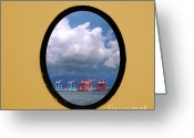 Porthole Greeting Cards - Porthole View of Container Cranes Greeting Card by Yali Shi