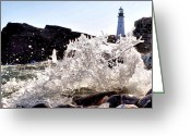 Portland Head Light Greeting Cards - Portland H2O Greeting Card by Emily Stauring