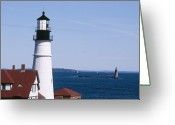 Fort Williams Park Photo Greeting Cards - Portland Harbor Lighthouses Greeting Card by George Oze