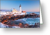 Portland Head Light Greeting Cards - Portland Head Greets the Sun Greeting Card by Susan Cole Kelly