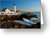 Sea Scape  Greeting Cards - Portland Head Light - lighthouse seascape landscape rocky coast Maine Greeting Card by Jon Holiday