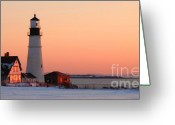 Portland Head Light Greeting Cards - Portland Head Light at Dawn - lighthouse seascape landscape rocky coast Maine Greeting Card by Jon Holiday