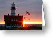 Fort Williams Park Photo Greeting Cards - Portland Head Light At Sunrise Greeting Card by Rick  Blood