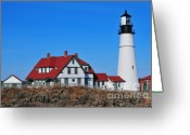 New England Lighthouse Greeting Cards - Portland Head Light Greeting Card by Catherine Reusch  Daley