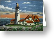 Maine Painting Greeting Cards - Portland Head Light Greeting Card by Gordon Beck