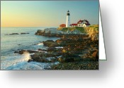 New England Seascape Greeting Cards - Portland Head Light No. 2  Greeting Card by Jon Holiday