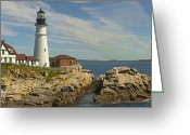 Atlantic Ocean Greeting Cards - Portland Head Light Panorama  Greeting Card by Mike McGlothlen