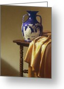 Vase With Figures Greeting Cards - Portland Vase with Cloth Greeting Card by Barbara Groff