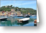 Colorful Buildings Greeting Cards - Portofino Boats Greeting Card by Corinne Rhode