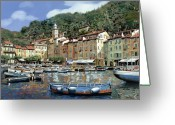 Seascape Greeting Cards - Portofino Greeting Card by Guido Borelli