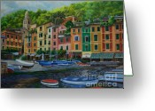 Italian Med Artist Greeting Cards - Portofino Harbor Greeting Card by Charlotte Blanchard