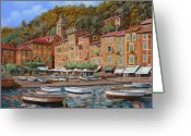 Hills Greeting Cards - Portofino-La Piazzetta e le barche Greeting Card by Guido Borelli