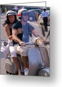 Europe Greeting Cards - Portofino scooter couple Greeting Card by Neil Buchan-Grant