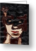 Bat Mixed Media Greeting Cards - Portrait 2 Greeting Card by Bethany Compson-Bradford