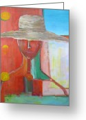 Expressive Pastels Greeting Cards - Portrait Avec Le Chapeau Greeting Card by Chaline Ouellet