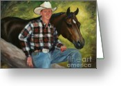 Quarter Horse Greeting Cards - Portrait Chad and Quarter Horse Portrait Painting Greeting Card by Kim Corpany