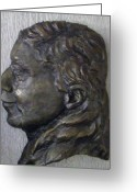 Face Reliefs Greeting Cards - Portrait in Bronze Greeting Card by Willoughby  Senior