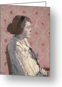 Pensive Greeting Cards - Portrait in Profile Greeting Card by Harold Gilman