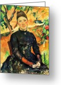 Pitcher Greeting Cards - Portrait Madame Cezanne Greeting Card by Pg Reproductions