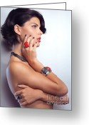 Short Hair Greeting Cards - Portrait of a Beautiful Woman Wearing Jewellery Greeting Card by Oleksiy Maksymenko