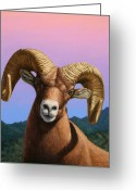 James Greeting Cards - Portrait of a Bighorn Greeting Card by James W Johnson