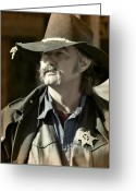 Character Greeting Cards - Portrait of a Bygone Time Sheriff Greeting Card by Christine Till